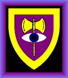 Emblazon: Purpure, a double-bitted axe Or, debruised by an eye Argent, irised Azure, all within a bordure Or.
